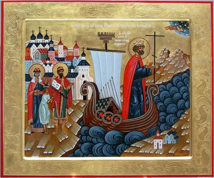 "Икона ""Отплытие св. Олава из Новгорода в Норвегию на мученичество"